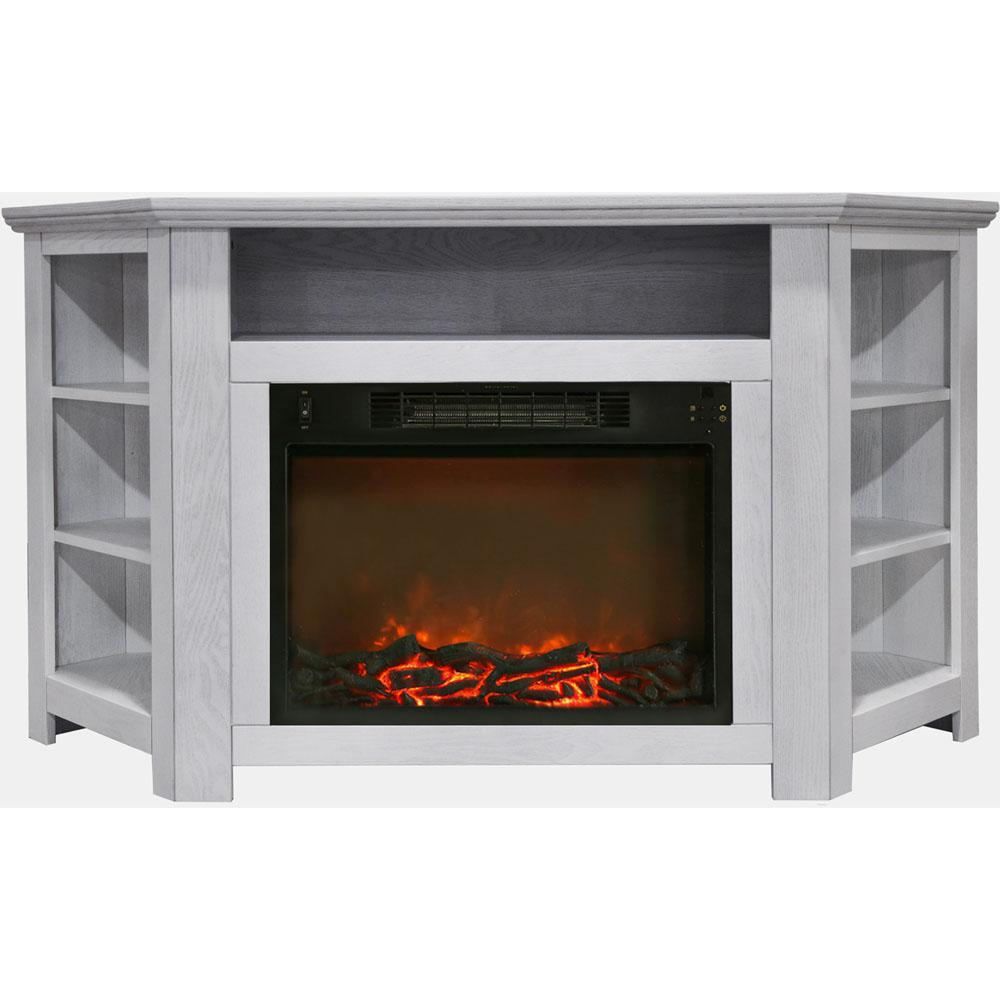 Electric Corner Fireplace In White With 1500 Watt Insert