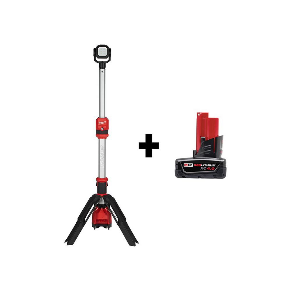M12 12-Volt Lithium-Ion Cordless 1400 Lumen ROCKET LED Stand Work Light with M12 4.0 Ah Battery