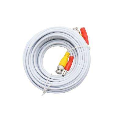 50 ft. Premade Premium Siamese Power and Video Cable - White
