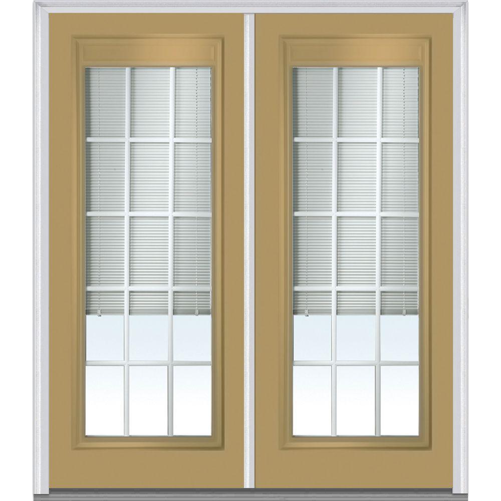 Blinds Between The Glass Light Brown Steel Doors Front Doors