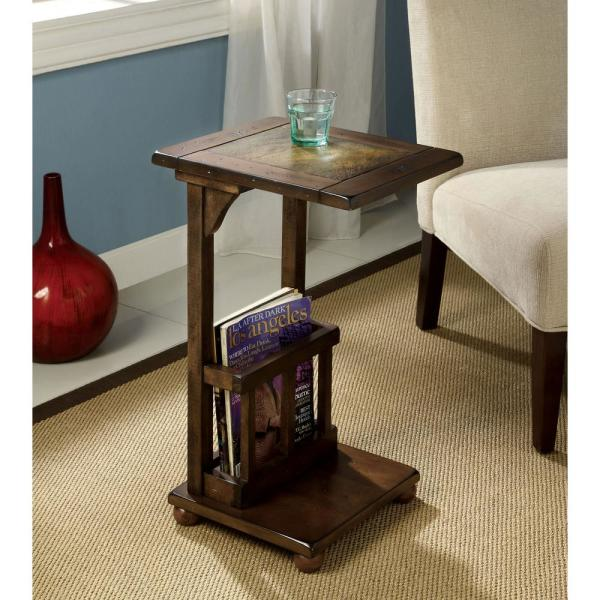 5ce22e5f94 William's Home Furnishing Wilcox Antique Walnut Side Table with Built-In Magazine  Rack