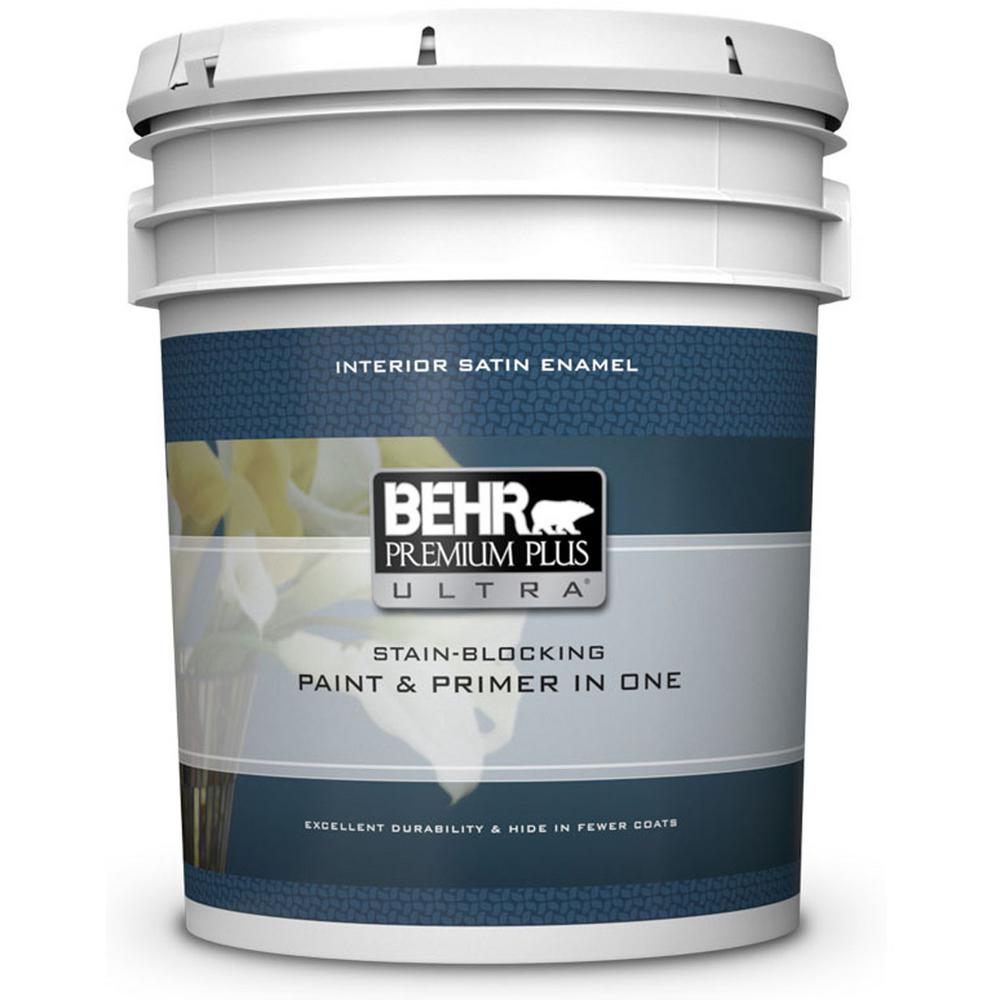 BEHR Premium Plus Ultra 5 gal. Ultra Pure White Satin Enamel Interior Paint and Primer in One