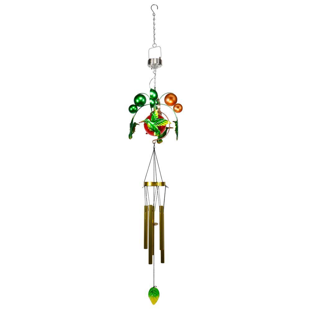 48 in. Tall Solar Hummingbird Metal and Glass Kinetic Windchime