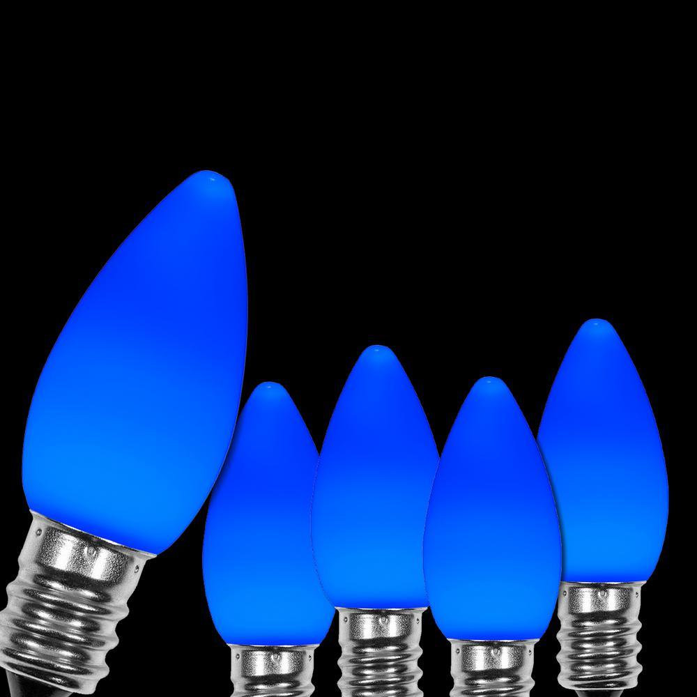 Wintergreen Lighting OptiCore C7 LED Blue Smooth/Opaque Christmas Light Bulbs (25-Pack)
