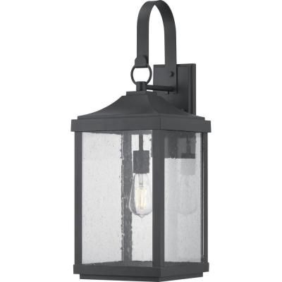 Park Court 1-Light 26 in. Textured Black Outdoor Wall Lantern with Clear Seeded Glass