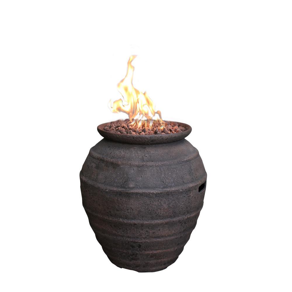 Modeno Pompeii 26 in. Oval Concrete Propane Fire Pot in Propane in Ancient Brown