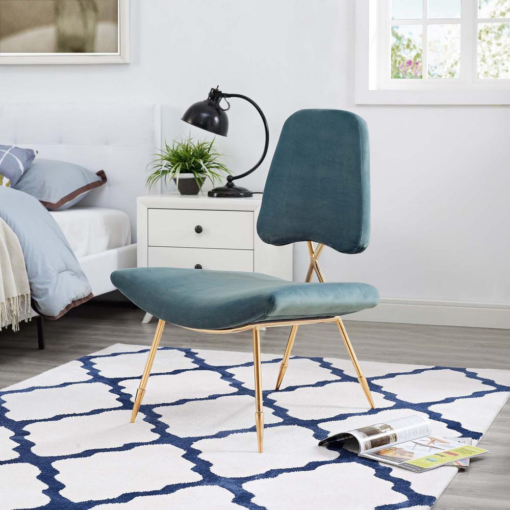 Ponder Upholstered Velvet Lounge Chair in Sea