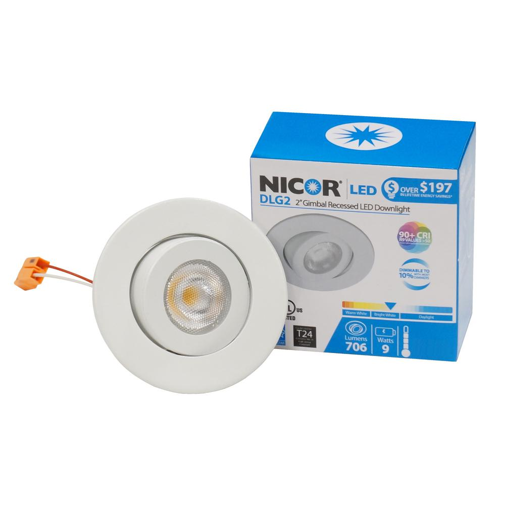 2 in recessed lighting lighting the home depot nicor 2 in white 2700k led retrofit recessed gimbal trim kit 923 aloadofball Gallery
