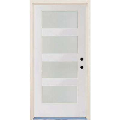 36 in. x 80 in. Elite Satin Etch Glass Contemporary 4 Lite Unfinished Fiberglass Prehung Front Door with Brickmould