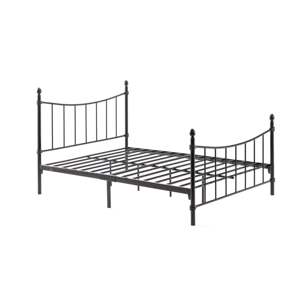 HODEDAH Complete Metal Black Queen Bed with Headboard, Footboard ...