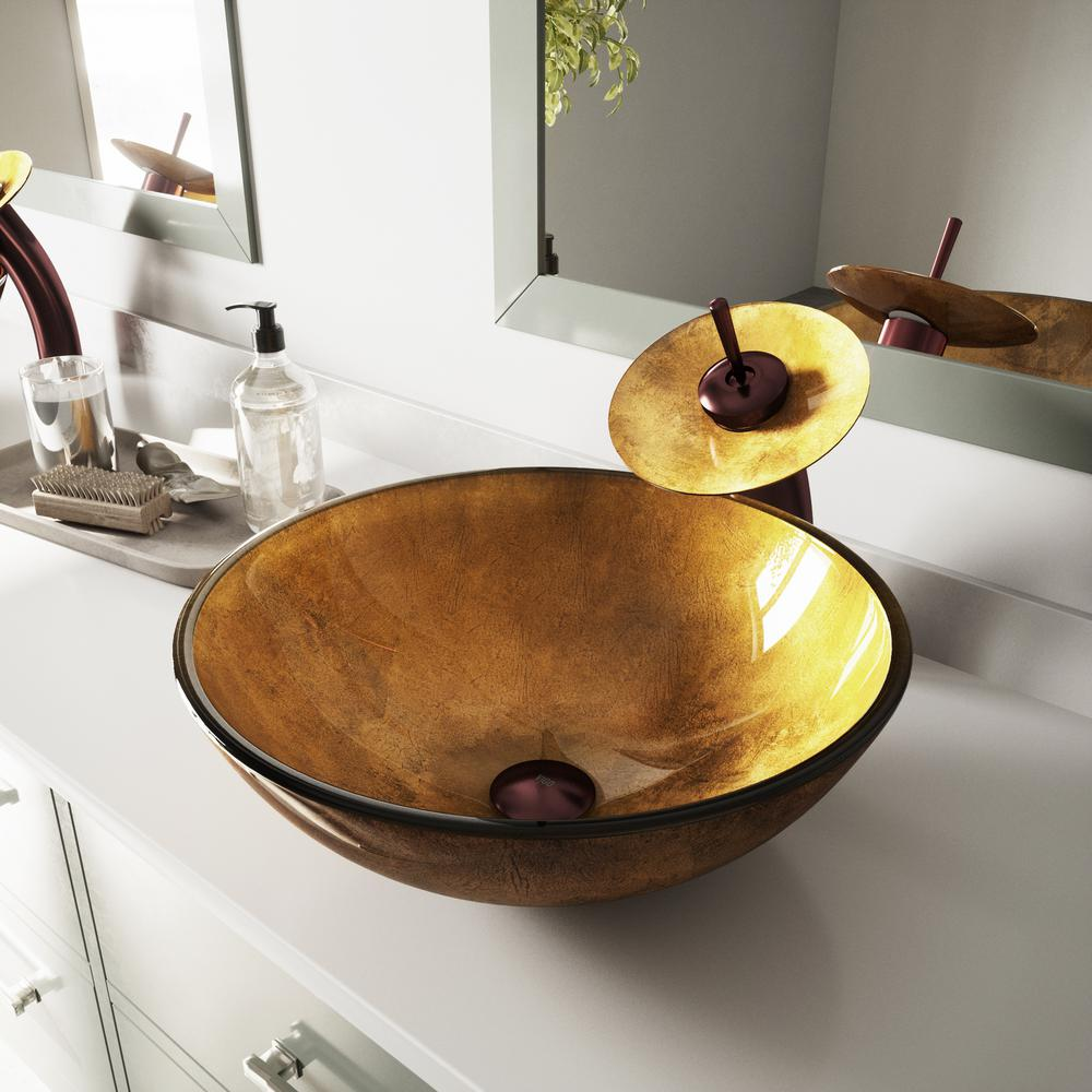 ordinary Vigo Sinks And Faucets Part - 6: VIGO Glass Vessel Sink in Liquid Gold with Waterfall Faucet Set in Oil  Rubbed Bronze