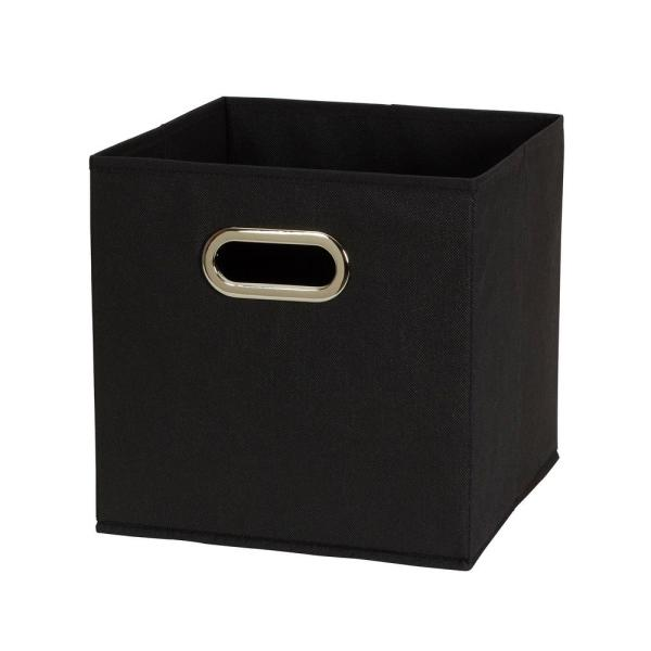 Household Essentials 11 In X 11 In X 11 In Black Fabric Collapsible Cube Storage Bins 6 Pieces Set 80 1 The Home Depot