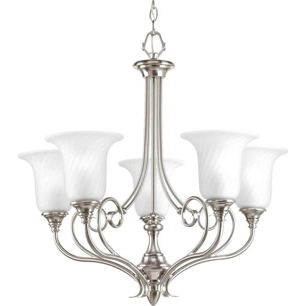 Progress Lighting Kensington Collection 5-Light Brushed Nickel Chandelier with Swirled Etched Glass Shade