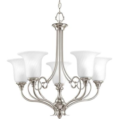 Kensington Collection 5-Light Brushed Nickel Chandelier with Swirled Etched Glass Shade