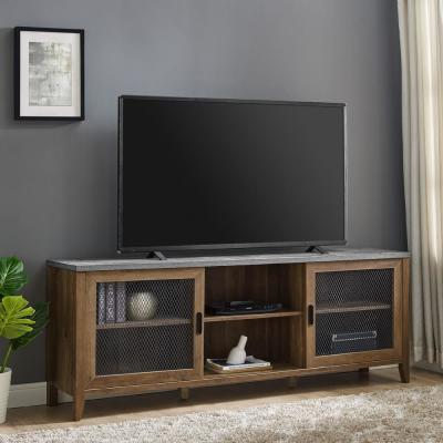 70 in. Dark Concrete and Reclaimed Barnwood Composite TV Stand Fits TVs Up to 78 in. with Storage Doors
