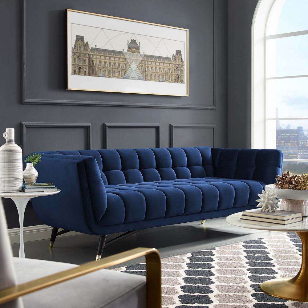Adept Midnight Blue Upholstered Velvet Sofa