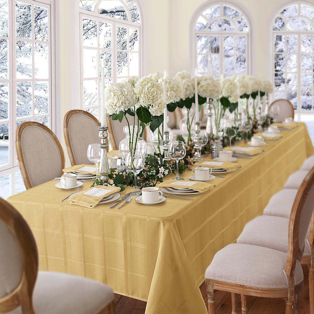 60 in. W x 102 in. L Ribbon Gold Elrene Elegance Plaid Damask Fabric Tablecloth
