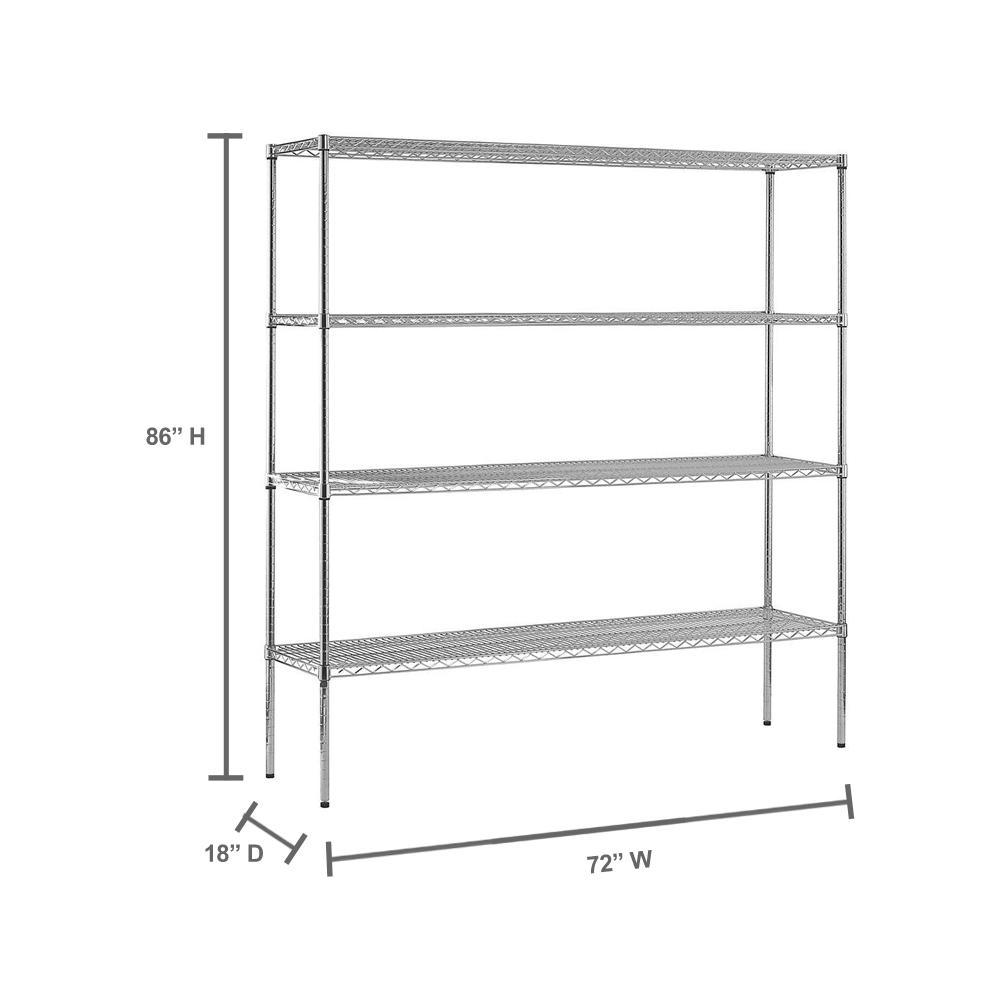 Sandusky Chrome 4 Tier Heavy Duty Steel Garage Storage Shelving 72 In W X 86 In H X 18 In D Ws721886 C The Home Depot