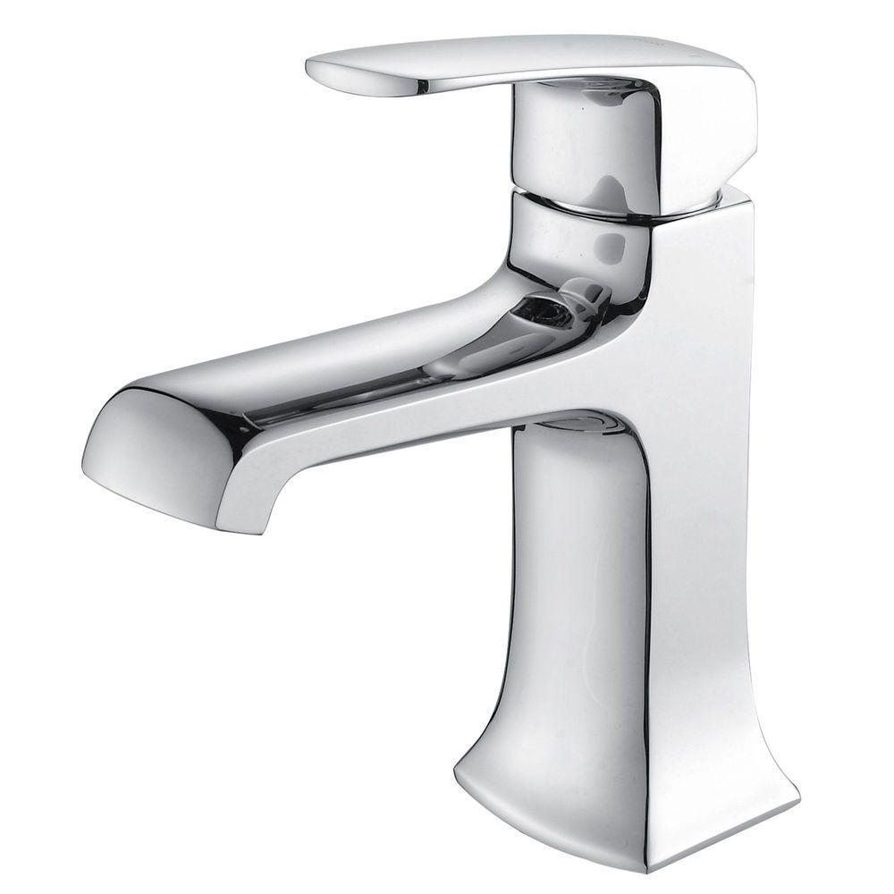 KRAUS Decorum Single Hole 1-Handle Low Arc Bathroom Faucet in Chrome