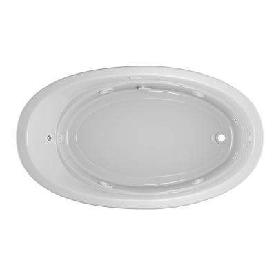 Riva 72 in. x 42 in. Acrylic Right-Hand Drain Oval Drop-in Whirlpool Bathtub with Heater in White