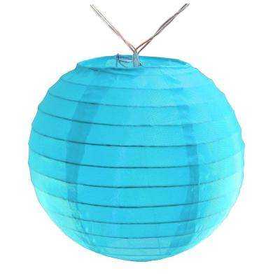 Battery Operated Turquoise String Light with 6 in. Nylon Lanterns (10-Count)
