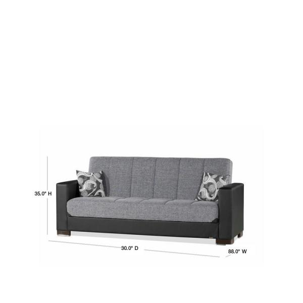 Ottomanson Armada 88 In Gray Black Microfiber 3 Seater Full Sleeper Convertible Sofa Bed With Storage Arm Sb 5 The Home Depot