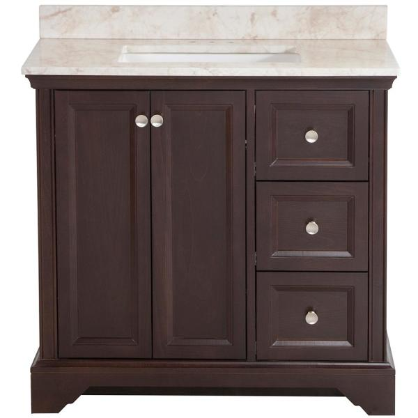 Stratfield 37 in. W x 22 in. D Bathroom Vanity in Chocolate with Stone Effect Vanity Top in Dune with White Sink