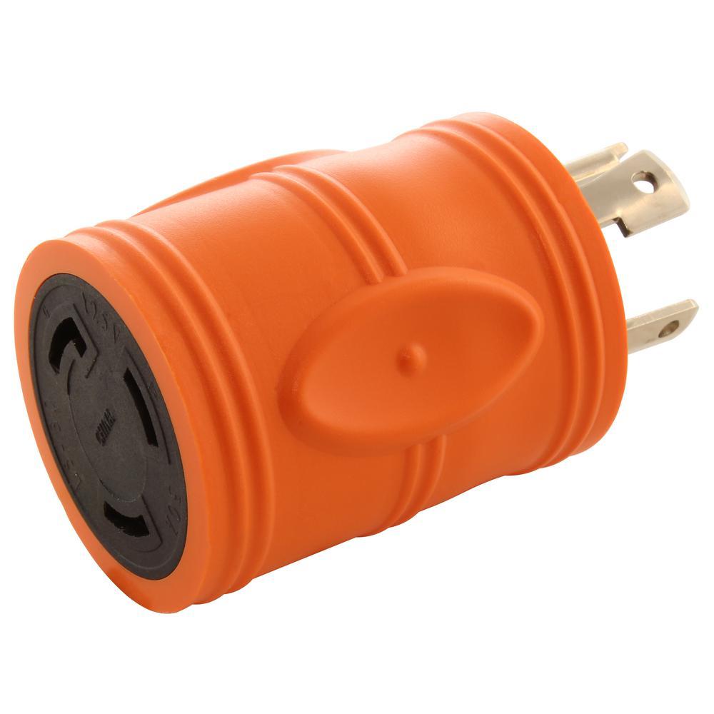 Locking Adapter NEMA L14-30P 30Amp 125/250Volt 4Prong Locking Plug to L5-30R 3Prong 30Amp Locking Female Connector