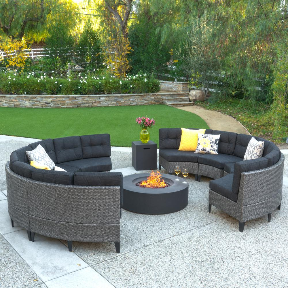 Noble House 10 Piece Wicker Patio Fire Pit Sectional Seating Set With Dark Gray Cushions 11889 The Home Depot
