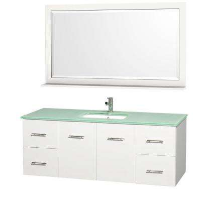 Centra 60 in. Vanity in White with Glass Vanity Top in Aqua and Square Porcelain Undermounted Sink