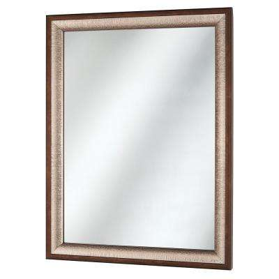 22 in. x 29 in. Framed Fog Free Wall Mirror in Silver and Bronze finish