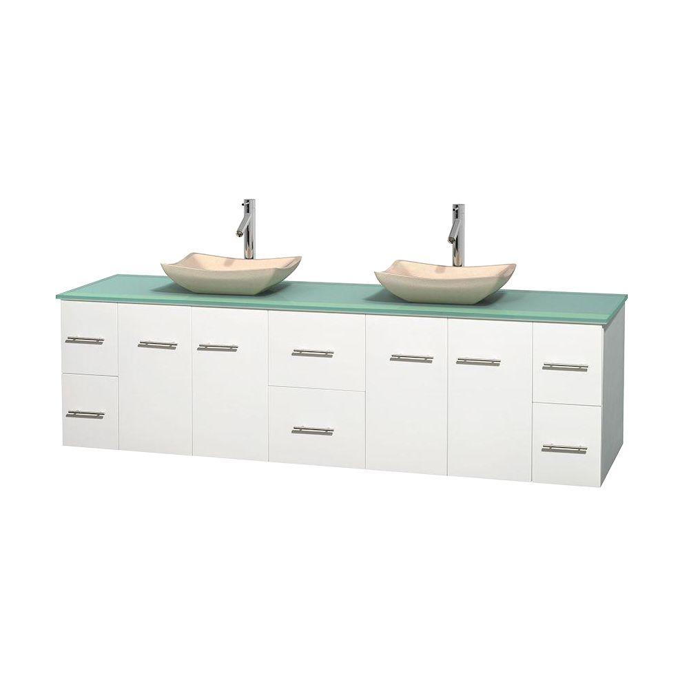 Wyndham Collection Centra 80 in. Double Vanity in White with Glass Vanity Top in Green and Sinks