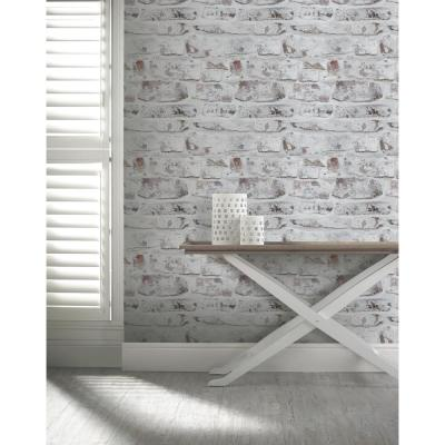 WHITE ARTHOUSE 671100 NEW WHITEWASHED WALL BRICK WALLPAPER