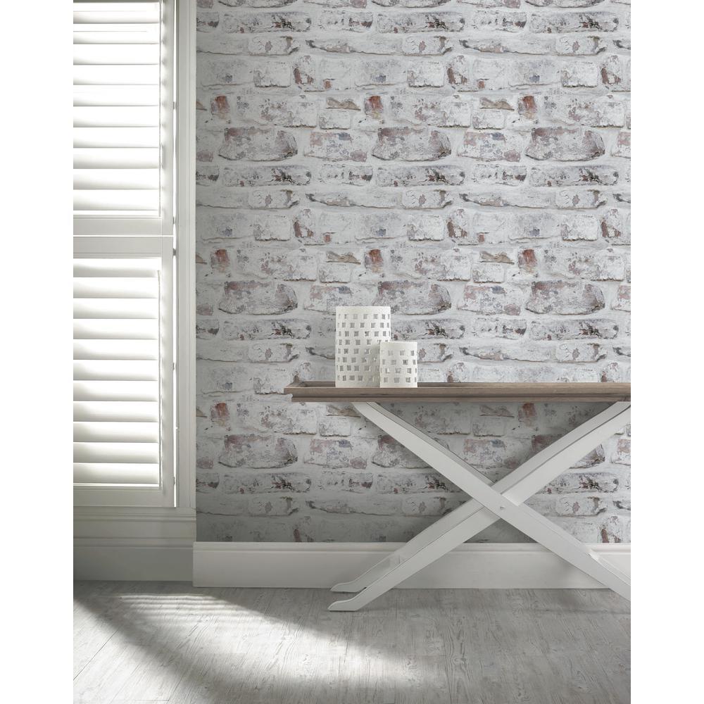 Whitewash Brick Wall: Arthouse Whitewash Wall White Wallpaper-671100