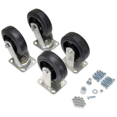 6 in. x 2 in. Mold-On-Rubber Caster Kit 2400# Cap