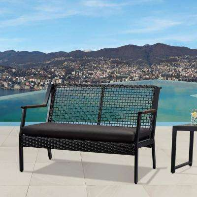 Calvin Black Powder Coated Aluminum Outdoor Loveseat with Black Cushions