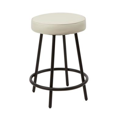 Carly 24 in. White Metal Upholstered Round Backless Bar Stool