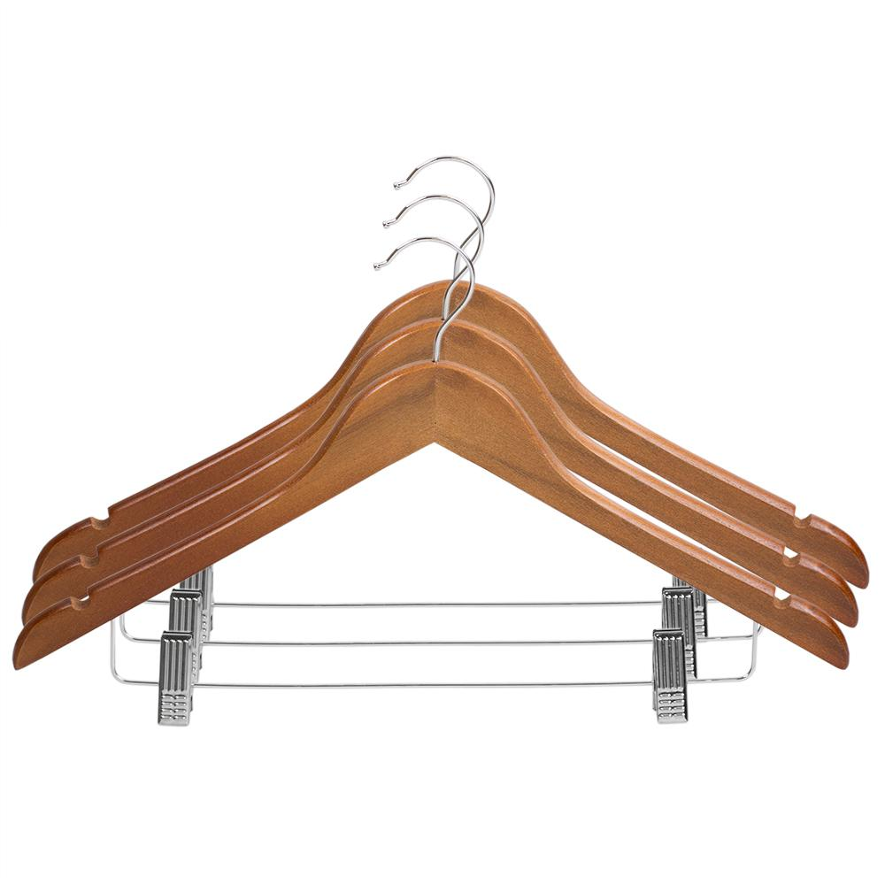 Oak Wood Hanger with Metal Clips (3-Pack)