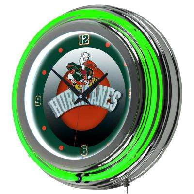 University of Miami 14 in. Round Honeycomb Neon Wall Clock