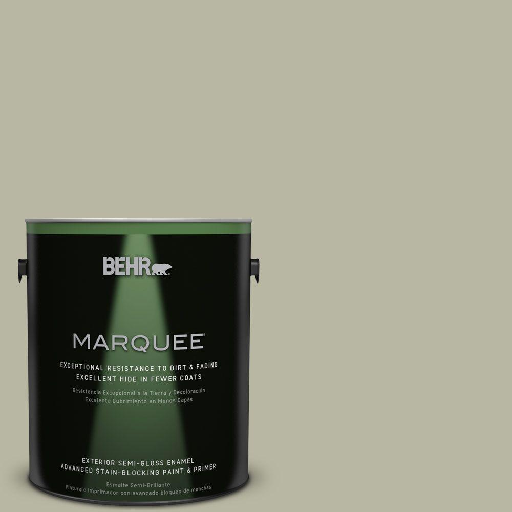 BEHR MARQUEE 1-gal. #QE-34 Court Green Semi-Gloss Enamel Exterior Paint
