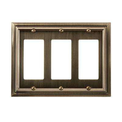 Continental 3 Decora Wall Plate - Brushed Brass