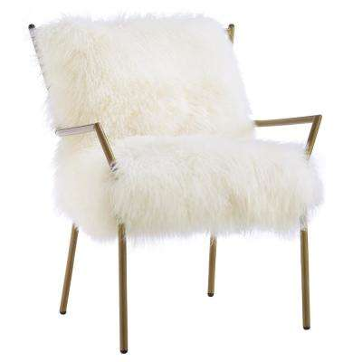 Lena White and Gold Sheepskin Chair
