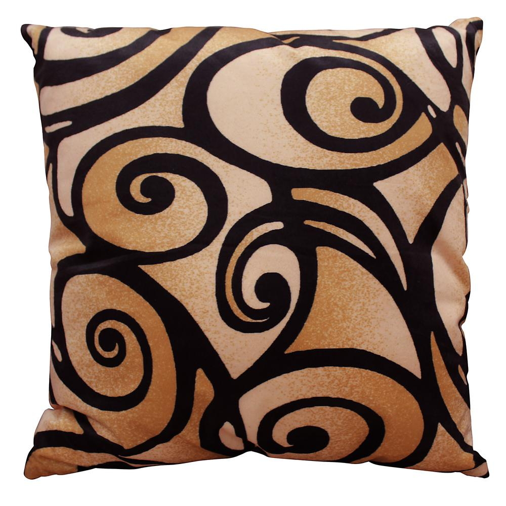 Bellagio Abstract Swirl 18 in. x 18 in. Square Accent Pillow
