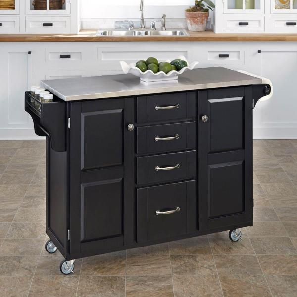 Home Styles Create-a-Cart Black Kitchen Cart With Stainless Top 9100-1042