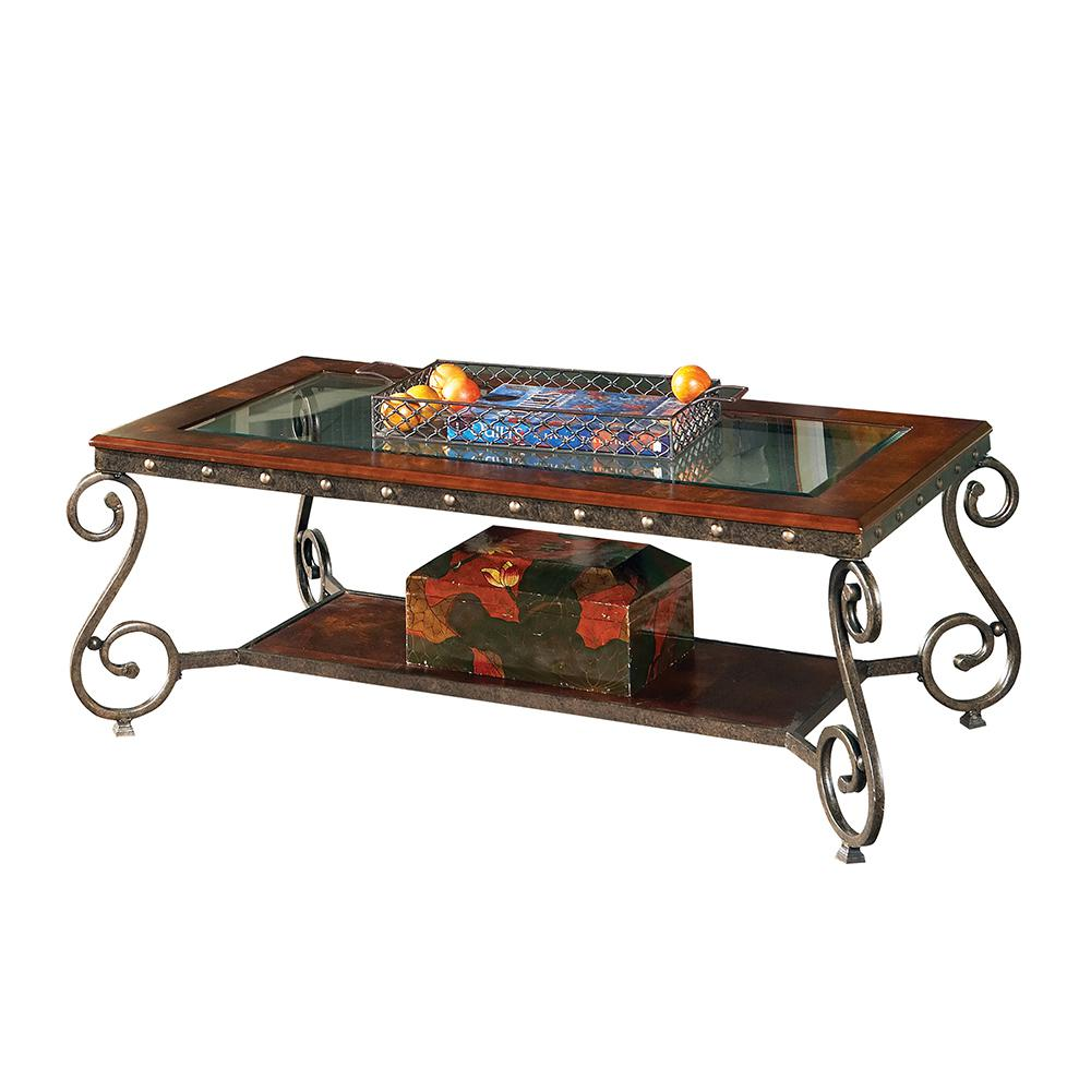 Ellery Medium Cherry With Scrolled Legs Cocktail Table