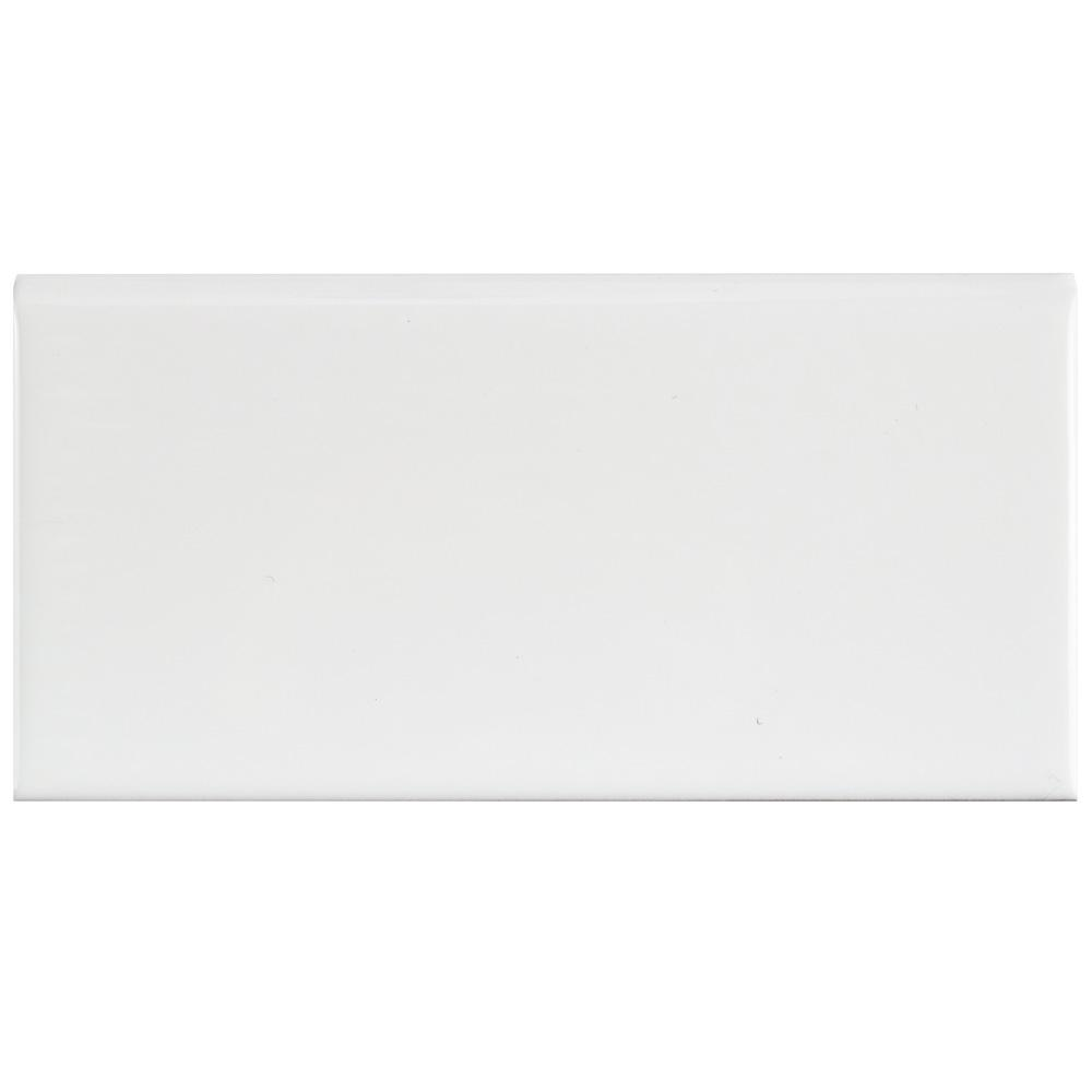 Merola Tile Park Slope Subway Glossy White 3 in. x 6 in. Ceramic Bullnose Wall Trim Tile