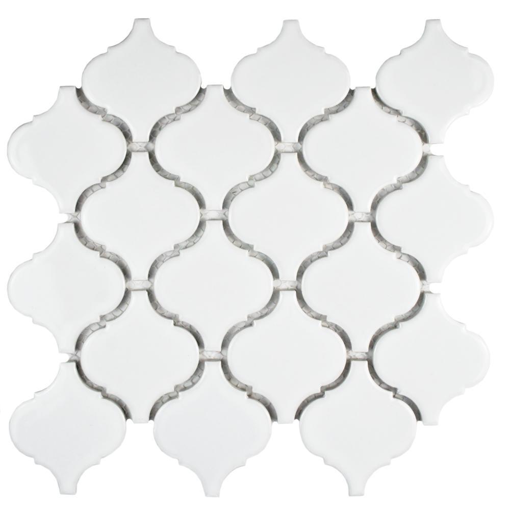 Metro Lantern Glossy White 9-3/4 in. x 10-1/4 in. x 6 mm Porcelain Mosaic Tile