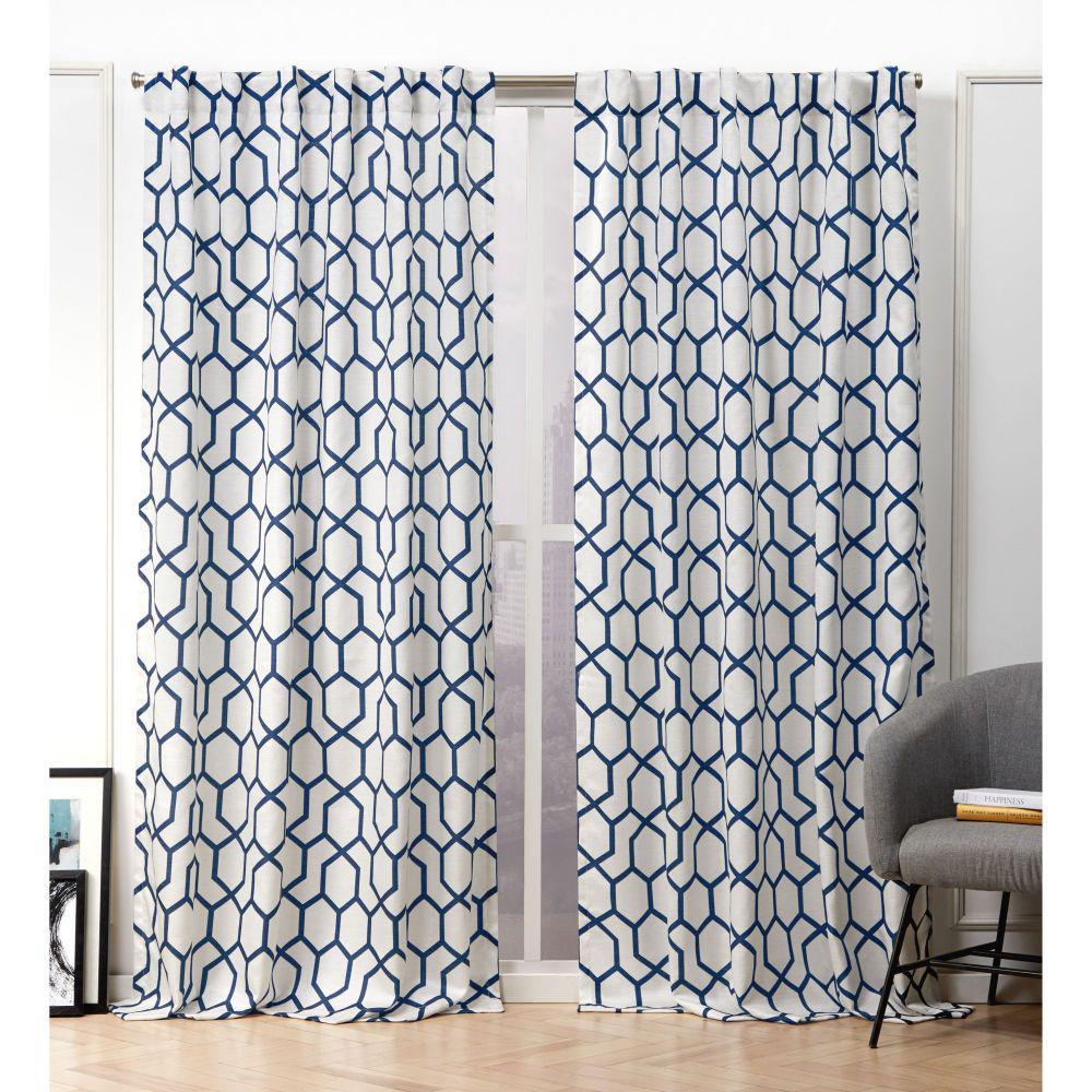 Hexa Indigo Blue Room Darkening Hidden Tab Top Curtain Panel - 54 in. W x 96 in. L   (2-Panel)