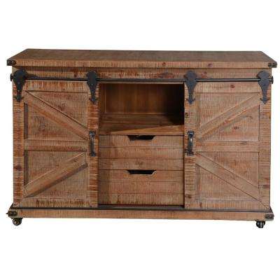 Presley 2-Drawer Natural Brown and Open Center 2-Door Cabinet