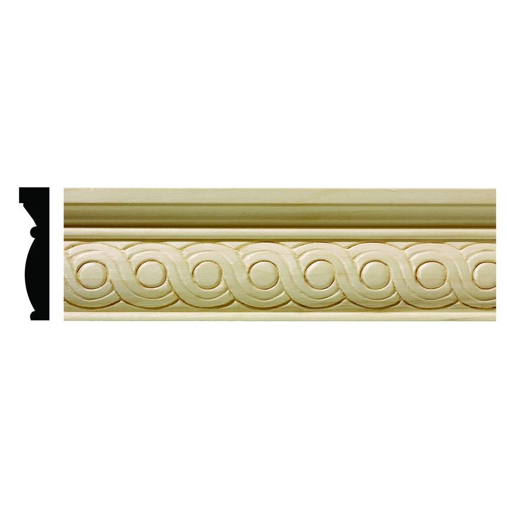 Ornamental Mouldings 1/2 in. x 2-1/4 in. x 96 in. Hardwood White Unfinished Rondele Chair Rail Moulding
